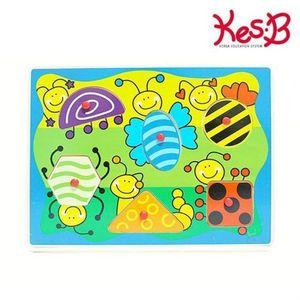 캐스B 튼튼 곤충패턴 꼭지퍼즐 2매