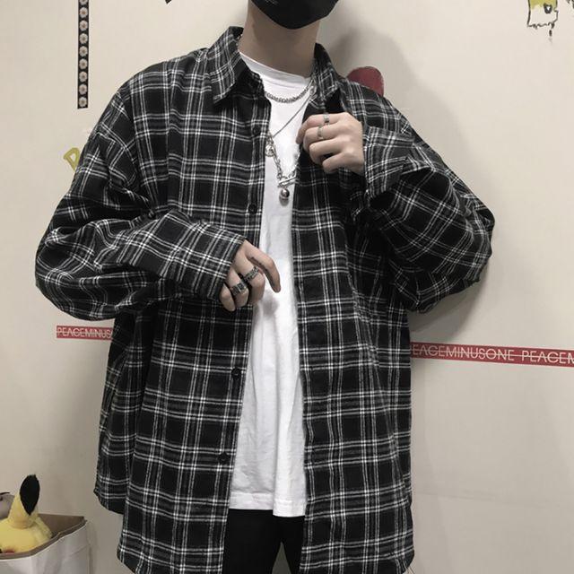 W 남성 체크남방 셔츠 오버핏 긴팔 데일리 캐쥬얼셔츠