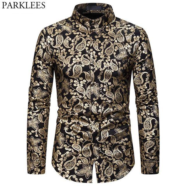 [해외] 세련된 골드 페이즐리 프린트 셔츠 남성 브랜드 스탠