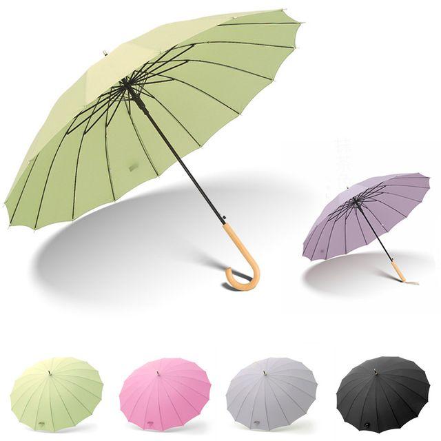 W 레트로 우드 16K 자동 장우산 복고풍 방풍 우산 양산