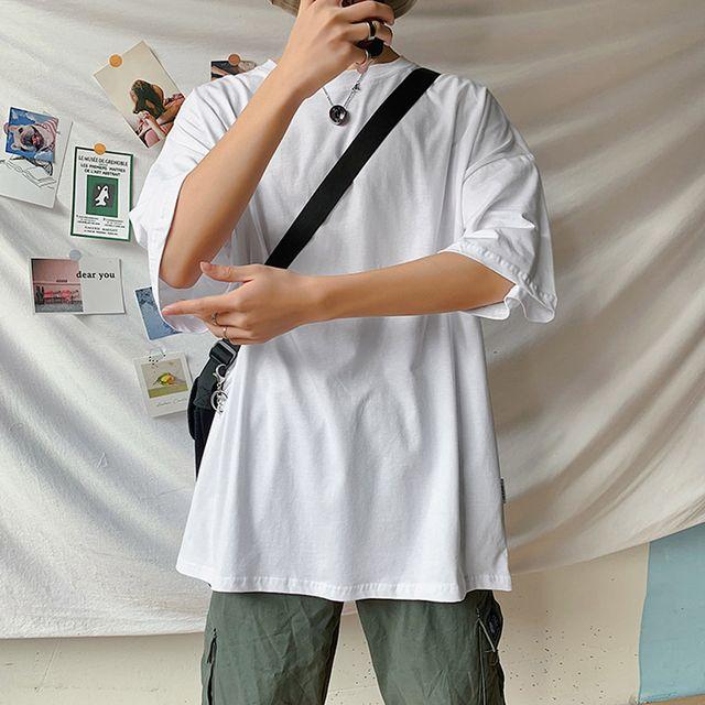 W 카오디 남성 오버핏 와이드 반팔 티셔츠 210316