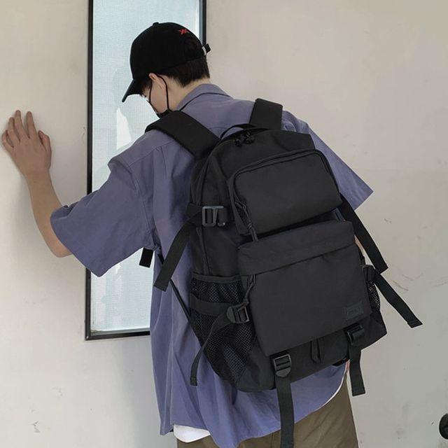 W 남녀공용 캐주얼 학생백팩 여행백팩 심플 투포켓 백팩