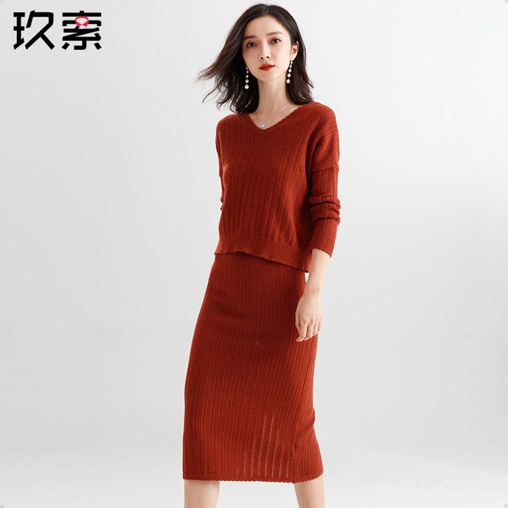 017f8bee6fd [해외] 스웨터 여성 가을 봄 패션 슬림 정장 치마 투피스