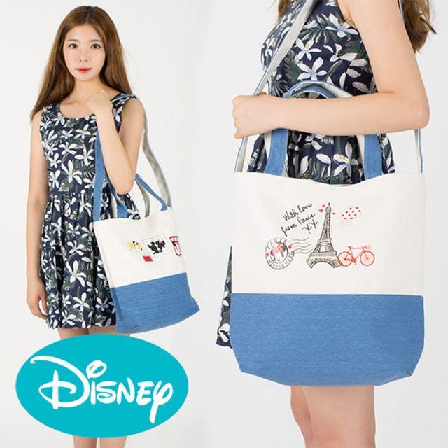 정품세일 디즈니 데님 에코백 크로스백 가방 보조가방