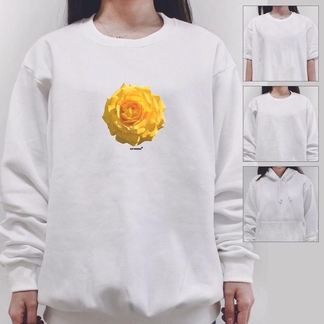 W 키밍 노란꽃 여성 남성 티셔츠 후드 맨투맨 반팔