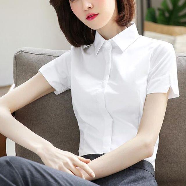 [해외] 여성 카라넥 흰색 반팔셔츠 직업복장 정장 반팔
