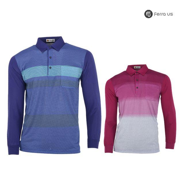 W TCC_페라어스 남성 골프 스판 컬러배색 티셔츠 CTNE20