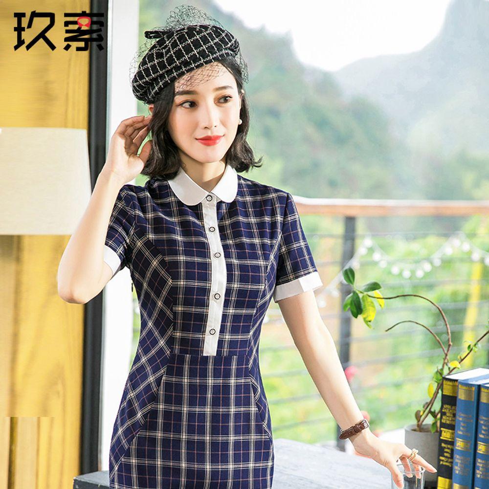 cc2e3414583 [해외] 드레스 여성 여름 반팔 치마 슬림 체크 정장원피스