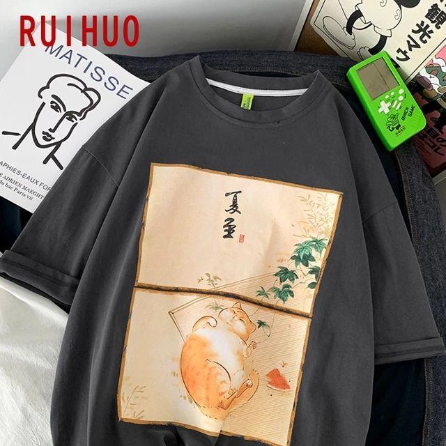 [해외] RUIHUO 하라주쿠 T 셔츠 남성 의류 코튼 T 셔츠 남성