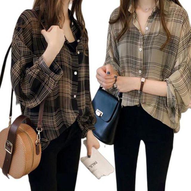 W 체크 패턴 짧은 소매 예쁜 여자 편한 블라우스 셔츠
