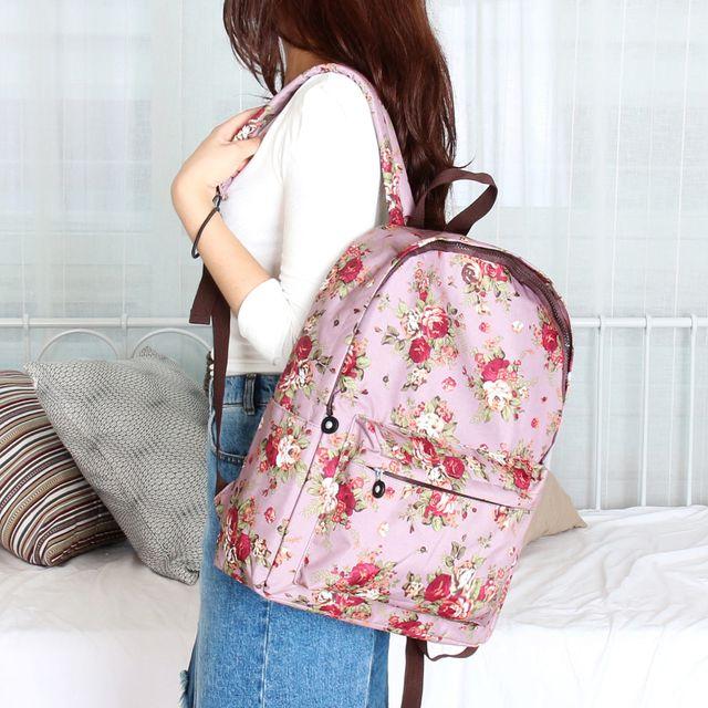 W 화려한 꽃 무늬 패턴 나들이 소풍 여성 백팩 가방