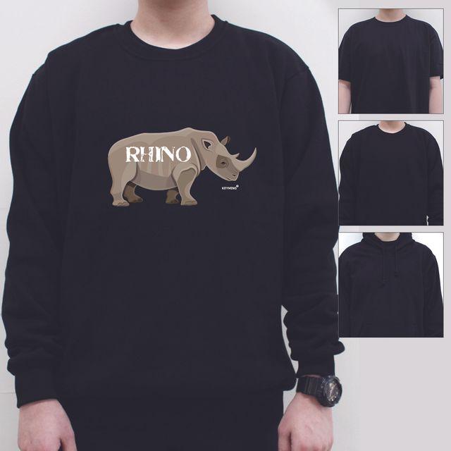 W 키밍 rhino 여성 남성 티셔츠 후드 맨투맨 반팔티