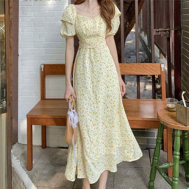 [해외] V형카라 인화 원피스 벌룬소매 드레스