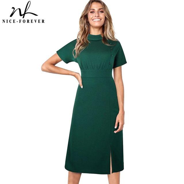 [해외] 니스-영원히 여름 블랙 컬러 버튼 우아한 작업 드레스