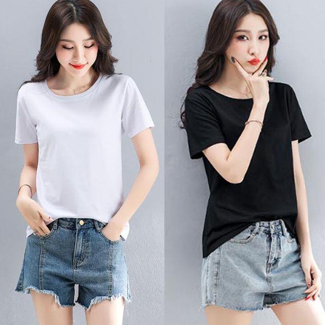 W 무지 라운드 반팔 베이직 티셔츠 교복 여학생 M~2XL