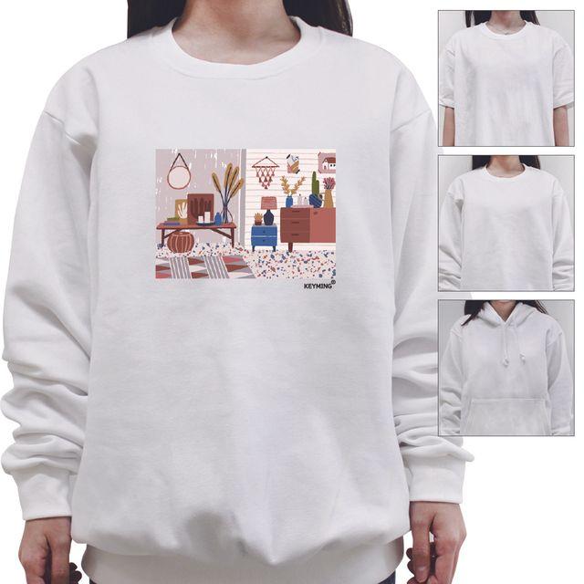 W 키밍 거실 여성 남성 티셔츠 후드 맨투맨 반팔티
