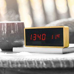원목 디자인 탁상시계 알람 온도계 날짜 탁상용시계
