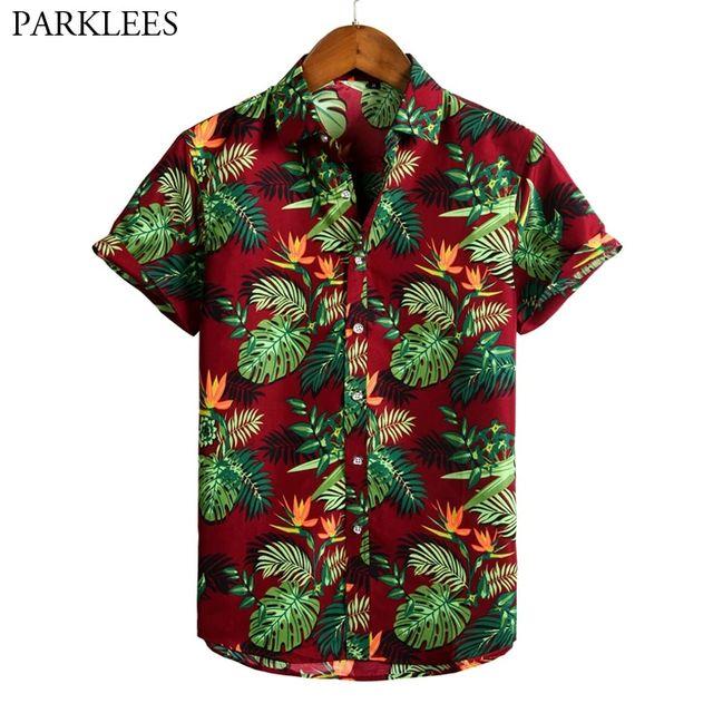 [해외] 레트로 꽃 프린트 남성 하와이 셔츠 2020 빈티지 여름