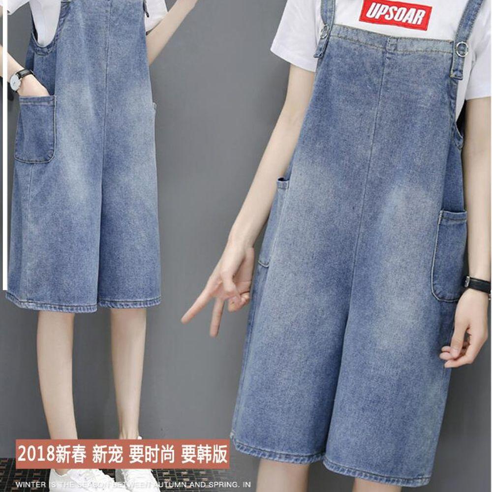 1aeb33829c3 [해외] 여성 멜빵 와이드 팬츠 날씬해 보이고 여학생의 캐주얼 바지 5부 와이드