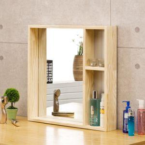 소나무 원목 사각거울 수납형