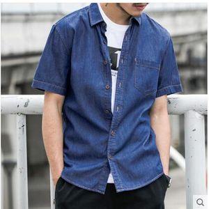 ee96d5decb4 여름 패션 남성복 캐주얼 반팔 데님 셔츠 멋진 청남방