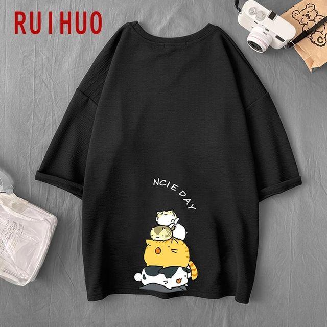 [해외] RUIHUO 고양이 프린트 빈티지 티셔츠 남성 의류 블랙