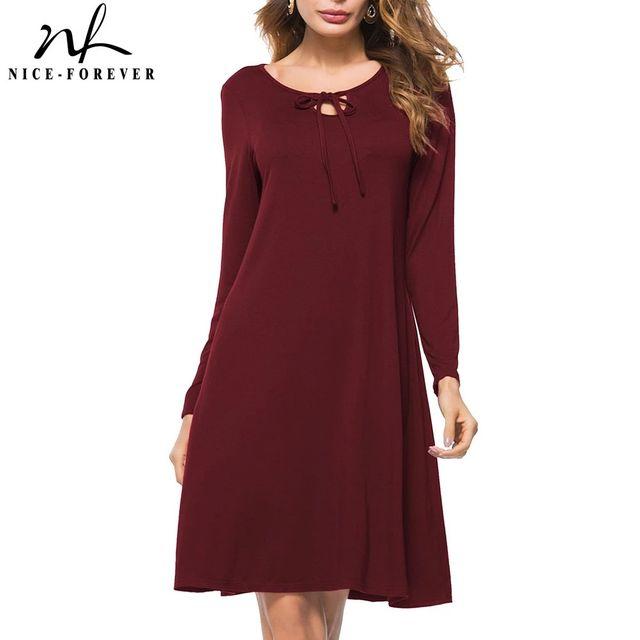 [해외] 니스-영원히 가을 솔리드 컬러 줄무늬 드레스 캐주얼