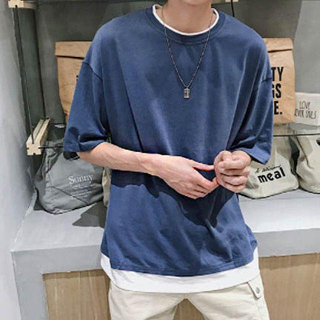 W 남자 캐주얼 외출 레이어드 패션 라운드 티셔츠