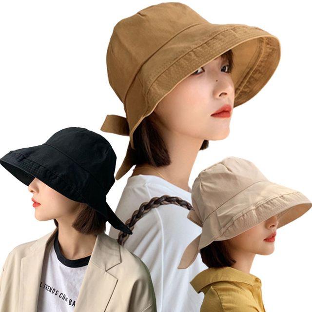 W 리본 포인트 와이드챙 햇빛 차단 나들이 여자 모자
