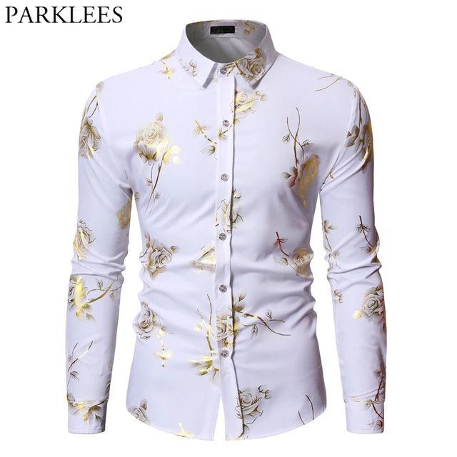 [해외] 남성 골드 로즈 플로랄 프린트 셔츠 2019 브랜드 플로