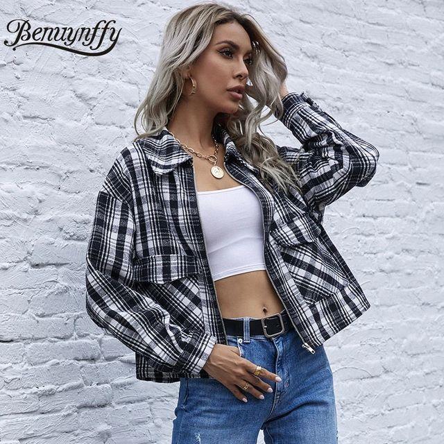 [해외] Benuynffy Turndown Collar 타탄 체크 무늬 자켓 코트