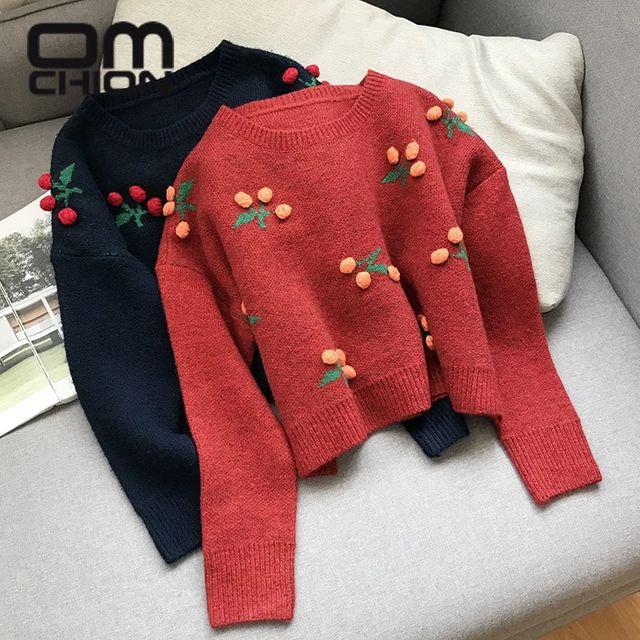 [해외] OMCHION 체리 자수 빨간색 짧은 스웨터 여성 2021 가