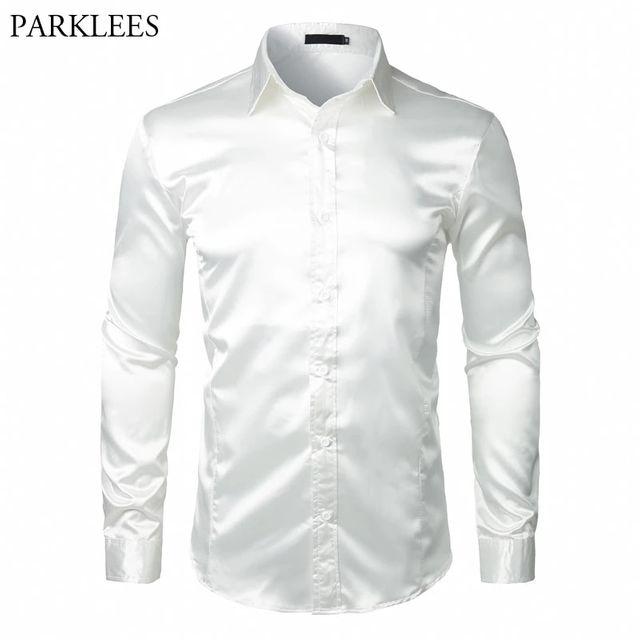 [해외] 세련된 화이트 실크 새틴 셔츠 남자 chemise 옴므 201