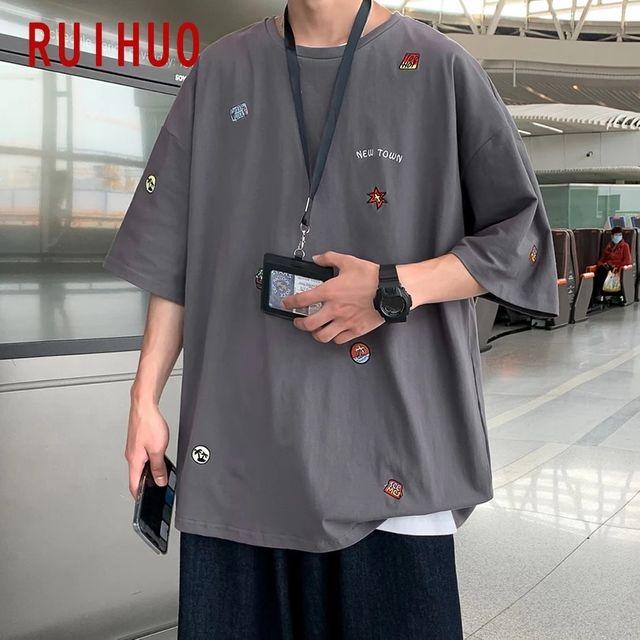 [해외] RUIHUO 캐주얼 하라주쿠 T 셔츠 남성 의류 재미 T 셔