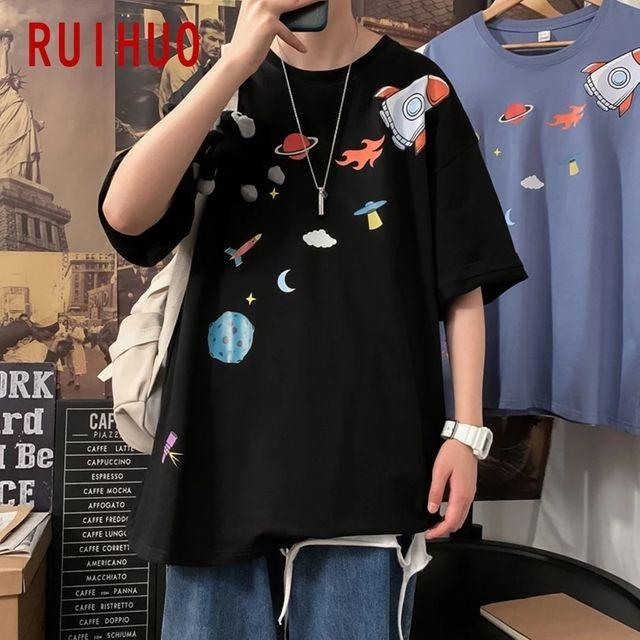[해외] RUIHUO 캐주얼 하라주쿠 T 셔츠 남성 의류 블랙 T 셔