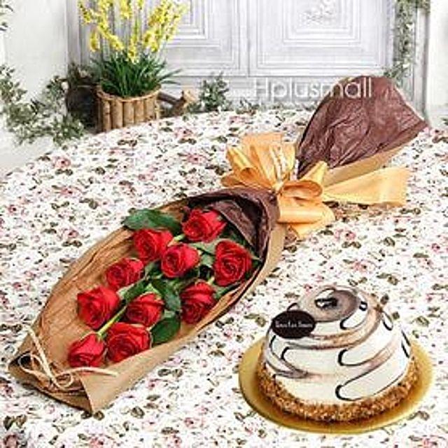 축하해 꽃다발(대급)+케익 케익꽃배달