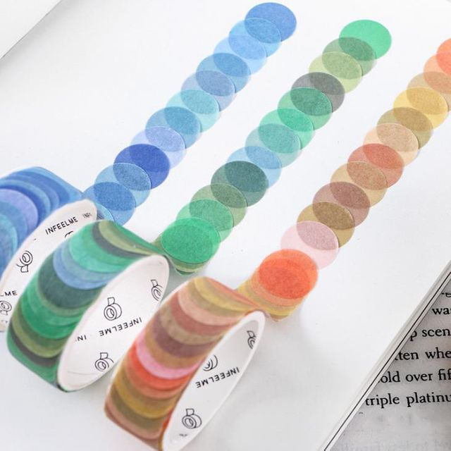 W 키밍 마스킹 테이프 땡땡이 컬러 무늬 선물포장