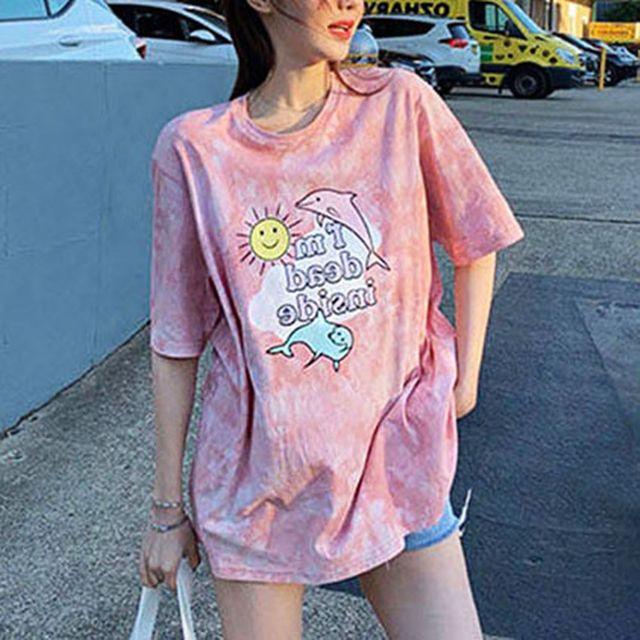 W 여자 타이다이 스타일 여름 패션 반팔 프린팅 티셔츠