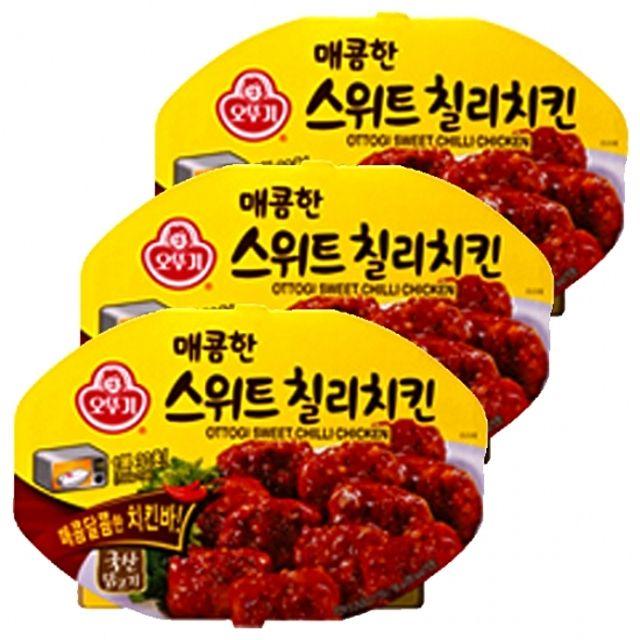 오뚜기)매콤한 스위트칠리치킨 렌지용 180g x 6개 칠리소스 벌꿀 달콤 닭고기,즉석,레토르트,식품,닭,고기