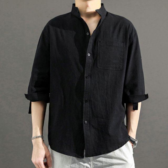 W 린넨 소재 남자 여름 데일리 패션 시원한 패션 셔츠