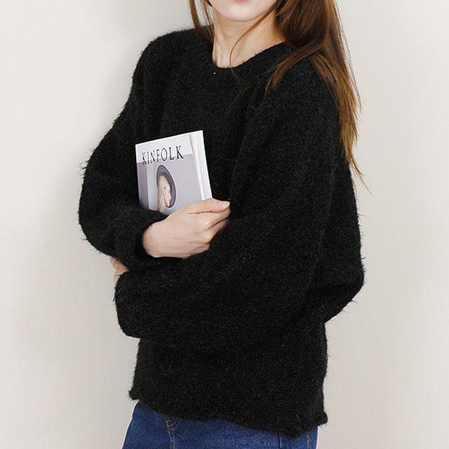 여성 겨울 두툼한 와이드 니트 티셔츠 따뜻한 긴팔티