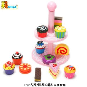 원목 장난감 VIGA 원목 컵 케이크와 스탠드