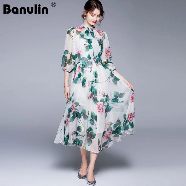 [해외] Banulin 2021 여름 활주로 비치 Boho 시폰 드레스 여