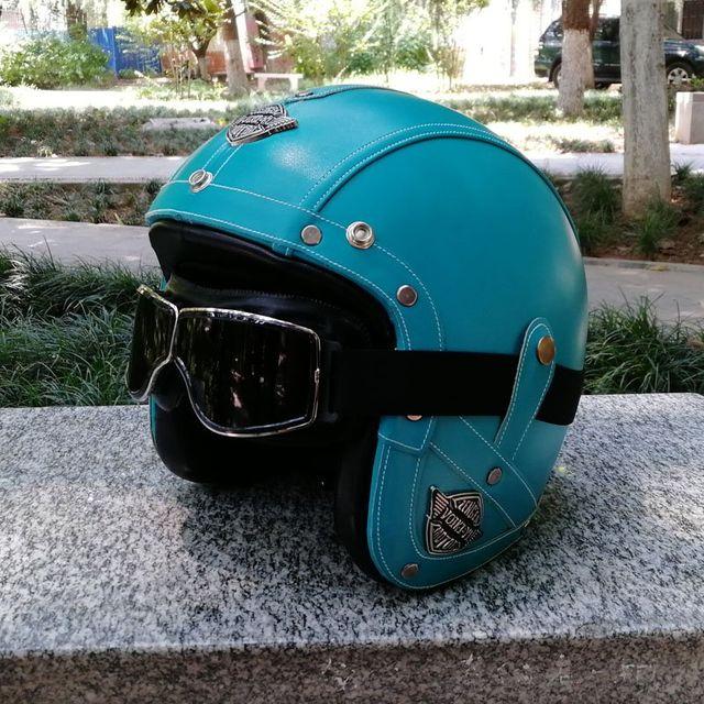 [해외] 봄과 여름 갈색 성격 전기 오토바이 헬멧