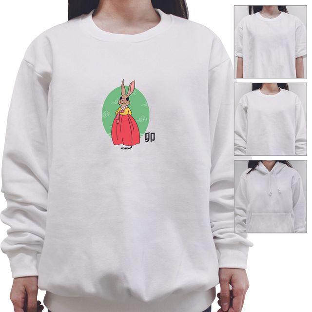 W 키밍 토끼띠 여성 남성 티셔츠 후드 맨투맨 반팔 단체