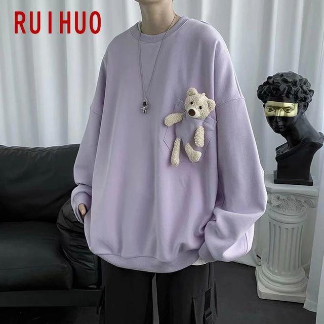 [해외] RUIHUO 곰 스웨터 남성 의류 하라주쿠 Streetwear 남