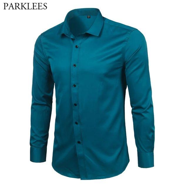 [해외] 남성 대나무 섬유 드레스 셔츠 슬림 피트 솔리드 긴