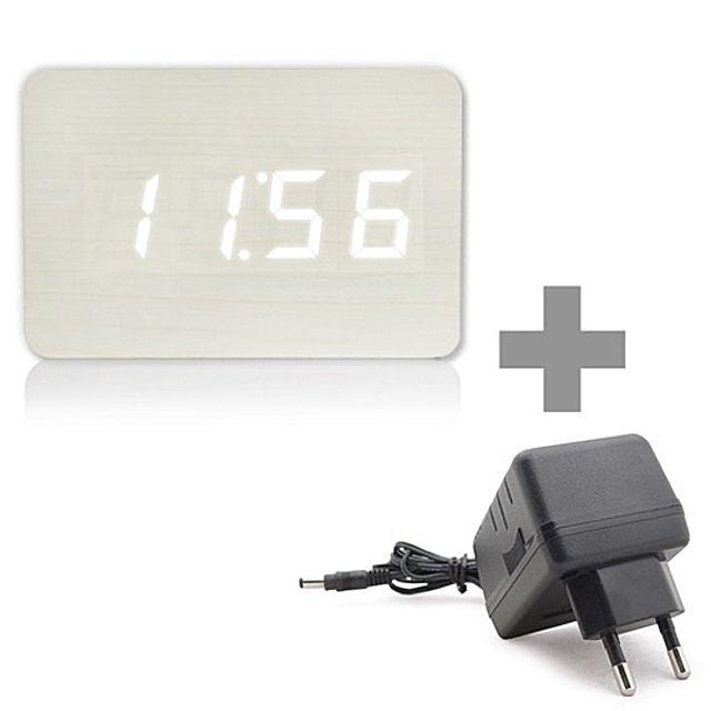 [더산쇼핑]ZEN 아답터 SET 인테리어 원목스타일 LED알람시계 탁상시계 알람시계 고급시계 시계