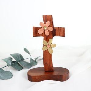 꽃장식 탁상 십자가