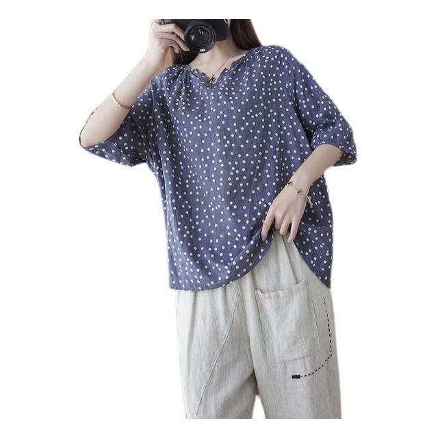 [해외] V넥 루즈핏 점박이 셔츠 여름 여성 면블라우스